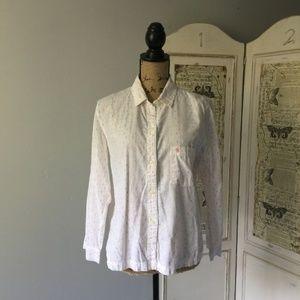 Victoria's Secret White and Multi Button Up PJ Top
